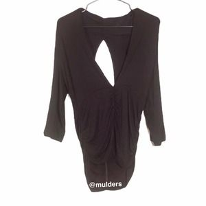 NWT Love Notes Black Ruched Cut Out Back Top